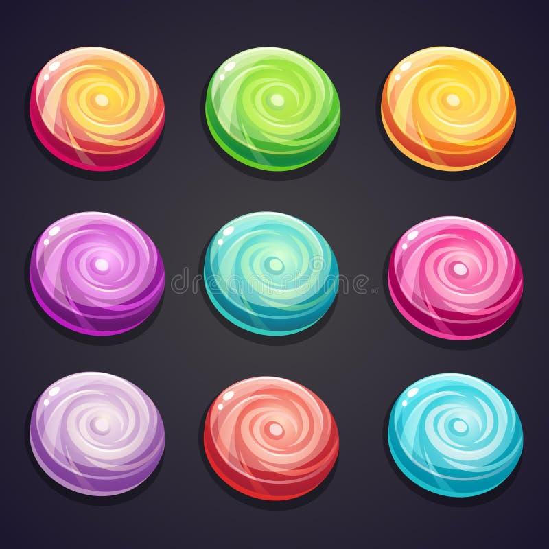 Grupo de doces de cores diferentes para jogos de computador ilustração do vetor