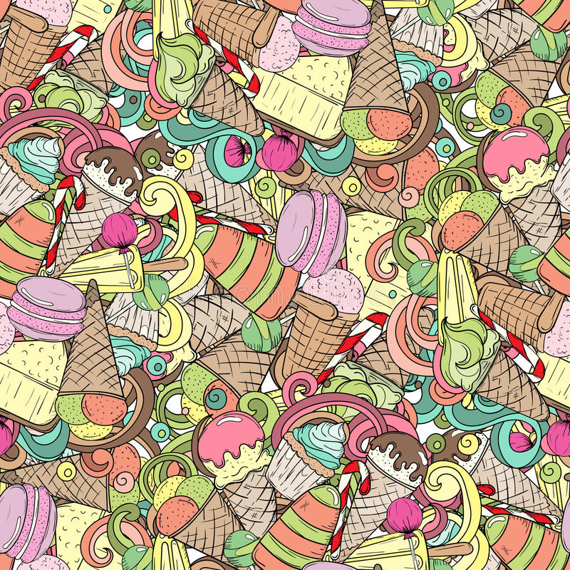 Grupo de doces diferentes Teste padrão sem emenda do doodle ilustração royalty free