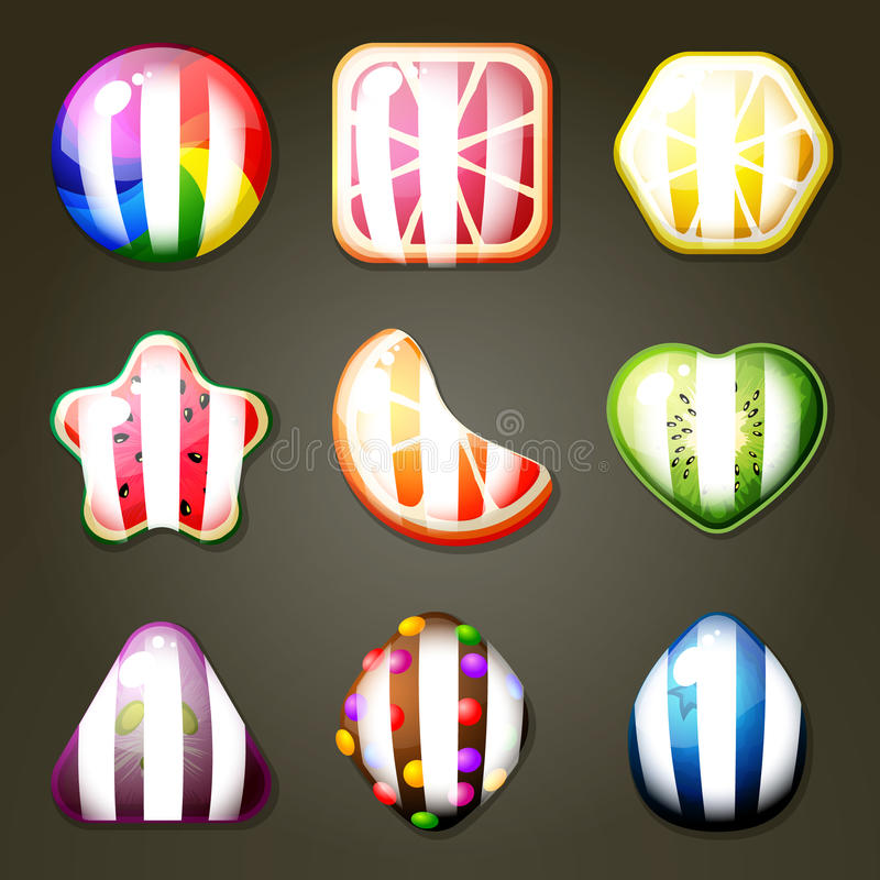 Grupo de doces do fruto ilustração royalty free