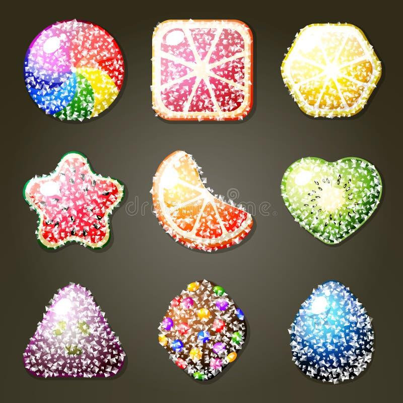 Grupo de doces do fruto ilustração stock