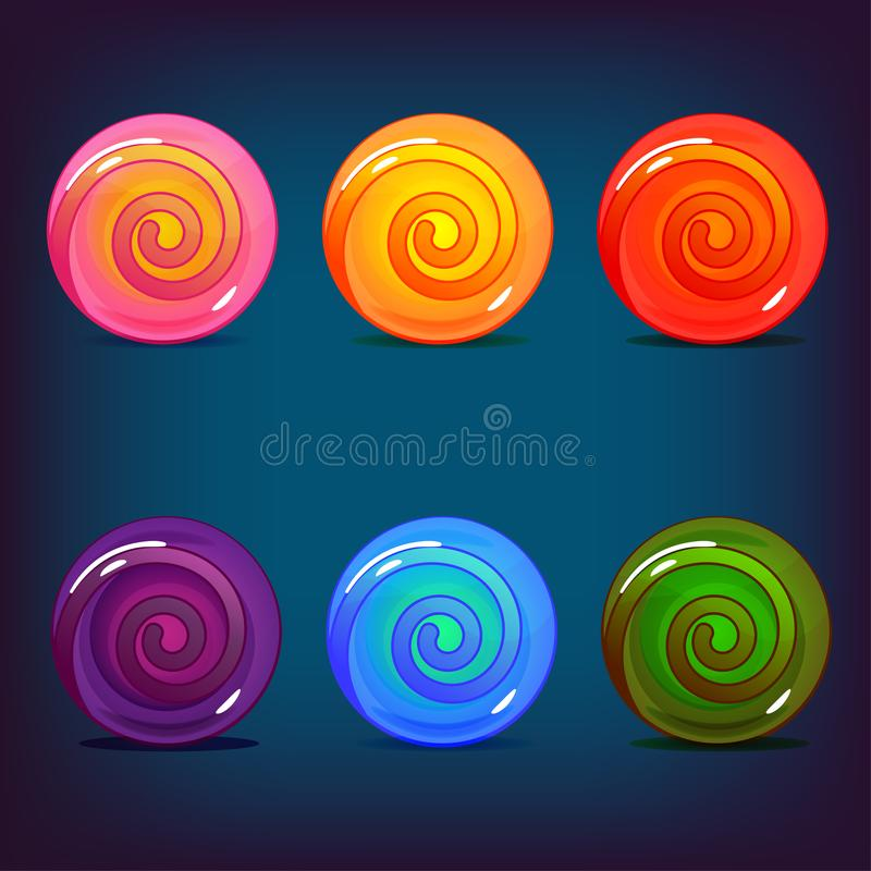Grupo de doces do pirulito de cores diferentes ilustração do vetor