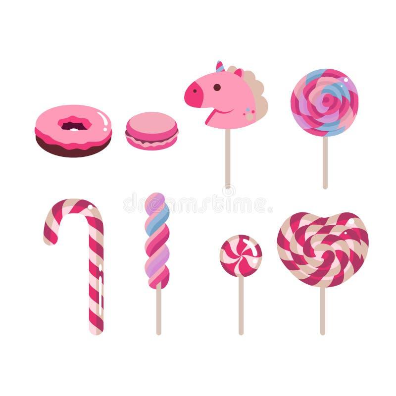 Grupo de doces lisos do vetor Bastão de doces, filhós, macaron, caramelo colorido no fundo branco ilustração stock
