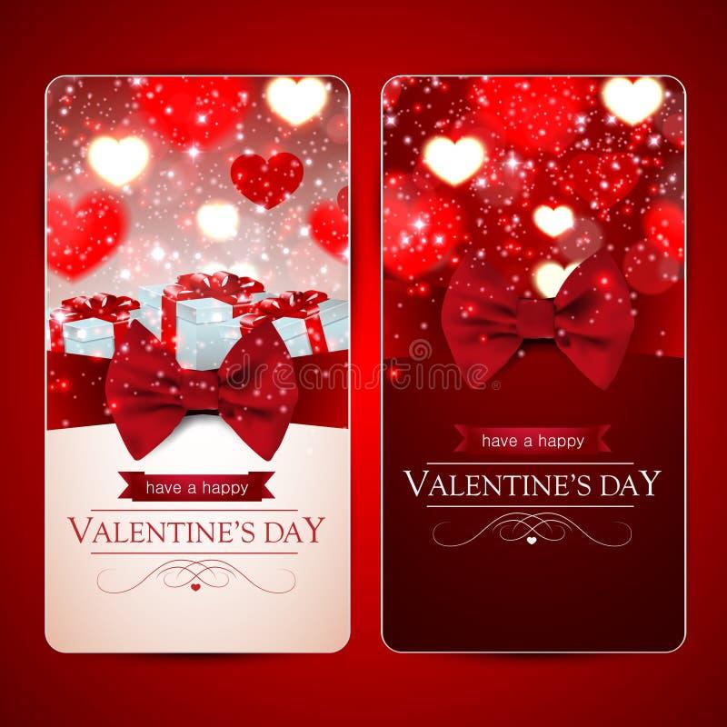 Grupo de dois cartões vermelhos do dia de Valentim com corações ilustração do vetor