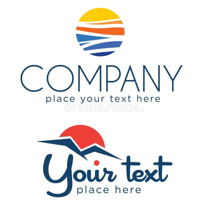 Grupo de dois logotipos solares imagem de stock royalty free