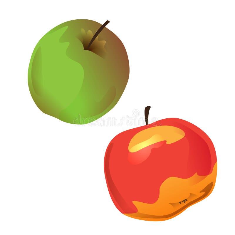 Grupo de dois maçãs, verdes e vermelhos Ilustração do vetor Objeto isolado no fundo branco Elementos para o projeto no tema da qu ilustração royalty free