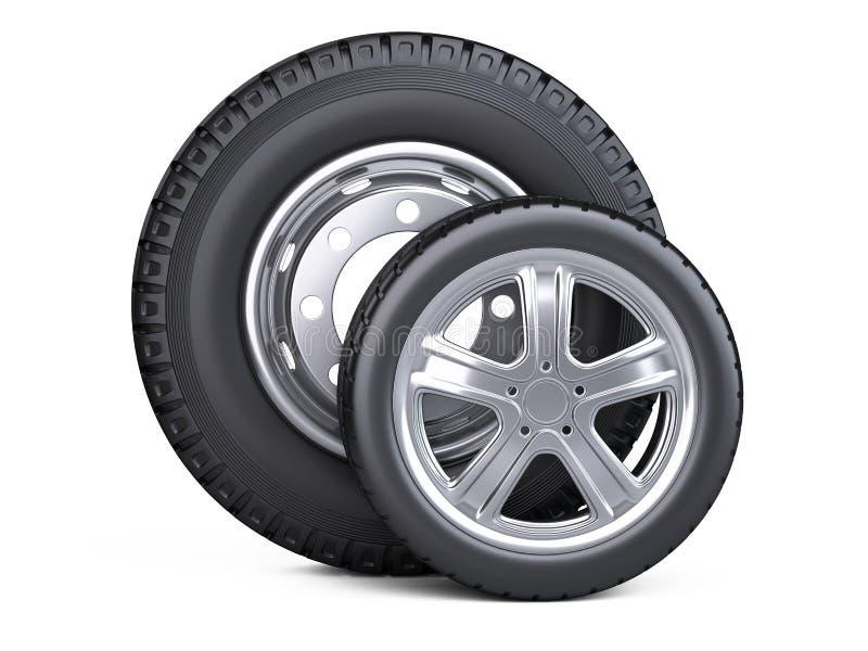 Grupo de dois pneus Rodas de carro novas com o disco para carros e caminhões - ilustração royalty free