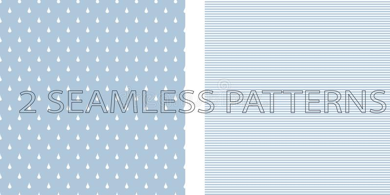Grupo de dois testes padrões sem emenda na cor azul ilustração royalty free