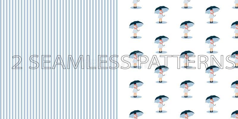 Grupo de dois testes padrões sem emenda na cor azul ilustração stock