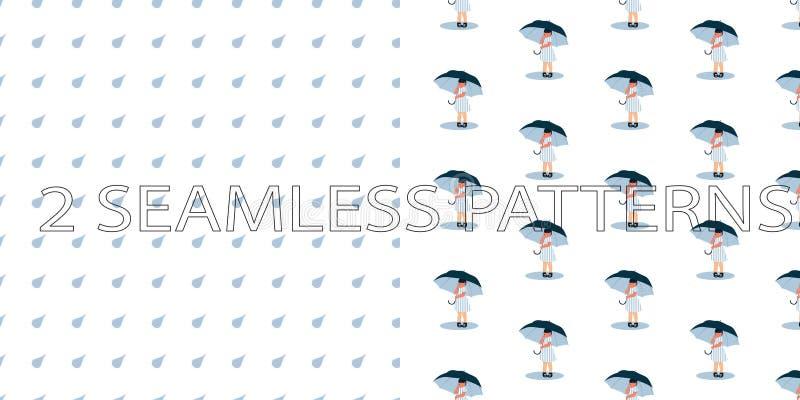 Grupo de dois testes padrões sem emenda na cor azul ilustração do vetor