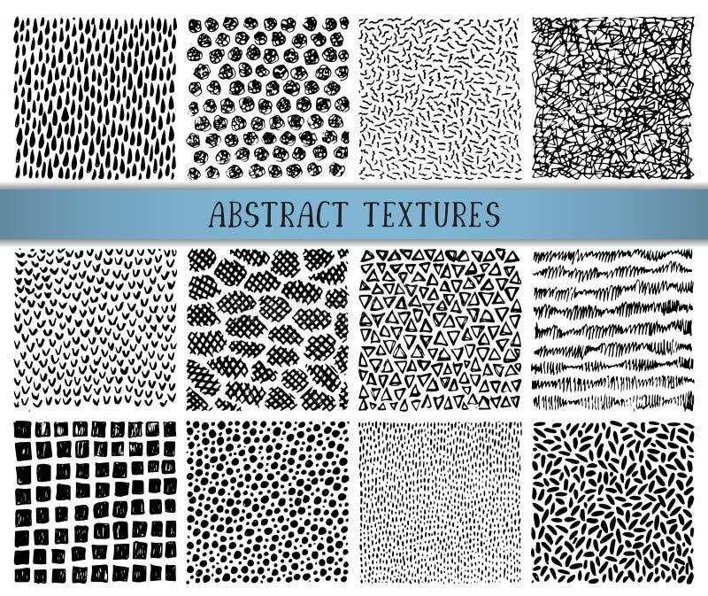 Grupo de doze texturas tiradas mão do sumário da tinta ilustração stock
