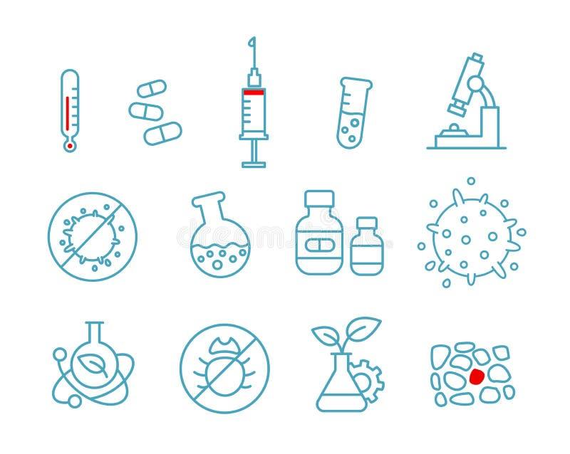 Grupo de droga da saúde da medicina dos ícones Química e laboratório do hospital ilustração do vetor