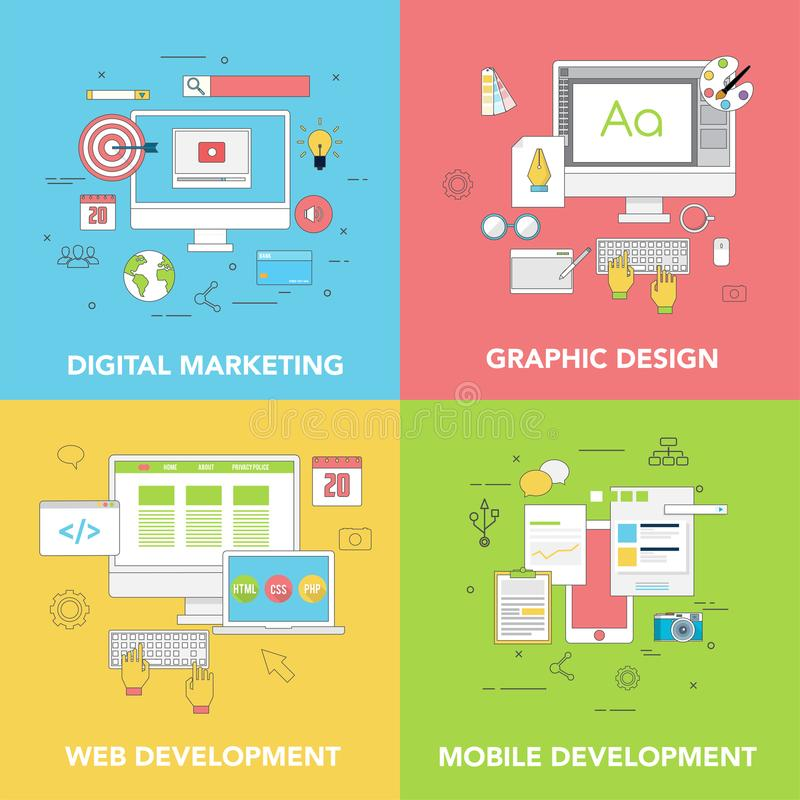 Grupo de duas bandeiras da Web para o mercado de Digitas do desenvolvimento do projeto gráfico e da Web ilustração do vetor