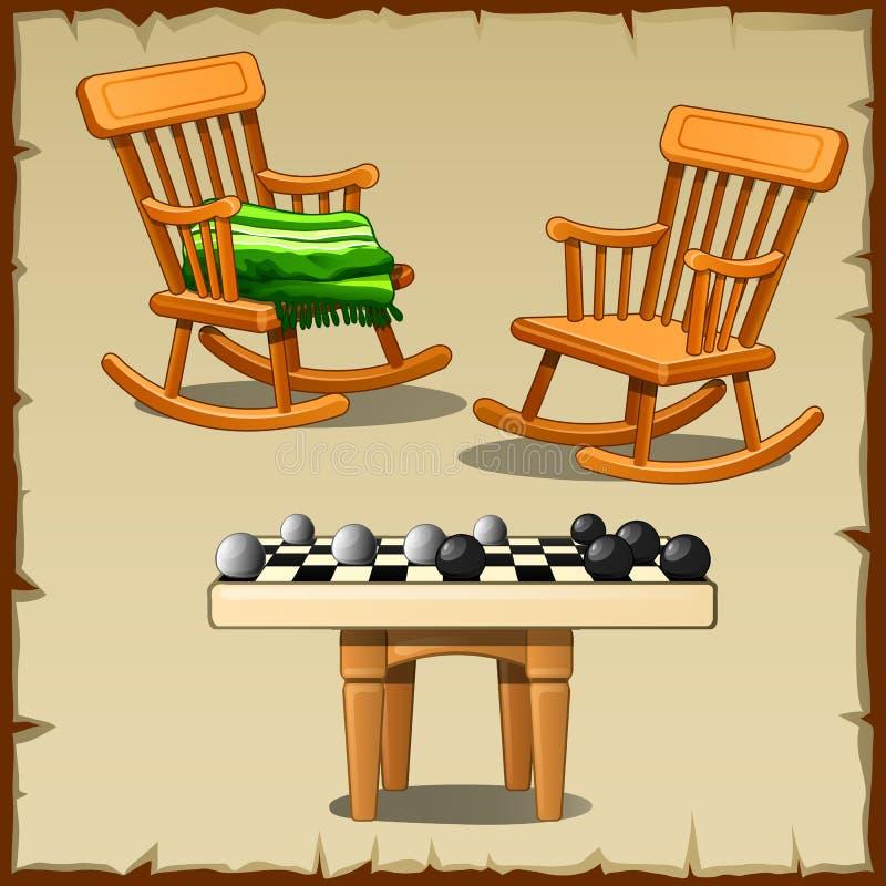 Grupo de duas cadeiras de balanço com os verificadores em de madeira ilustração do vetor