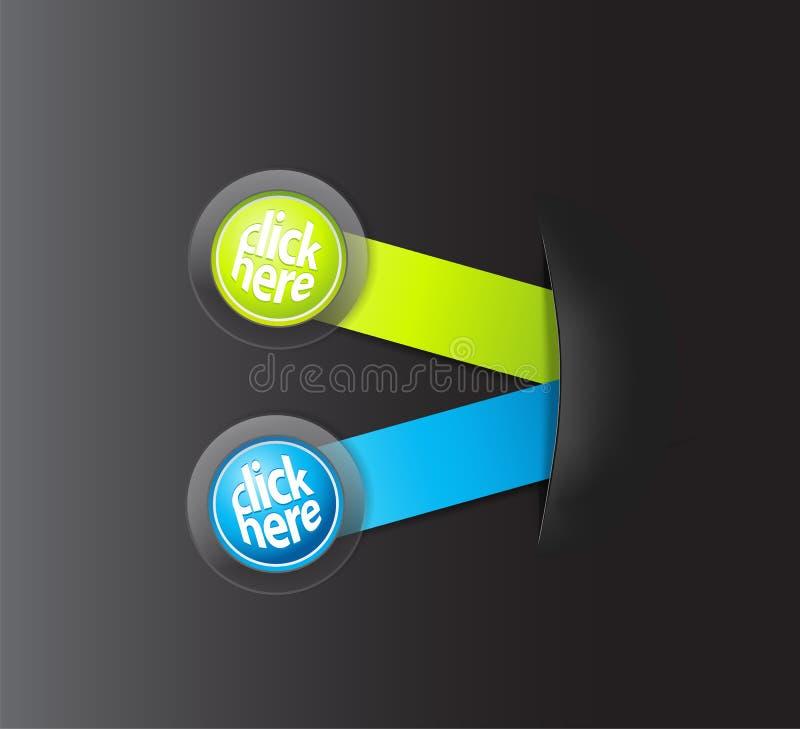 Grupo de duas etiquetas horizontais que escondem no bolso de papel ilustração stock