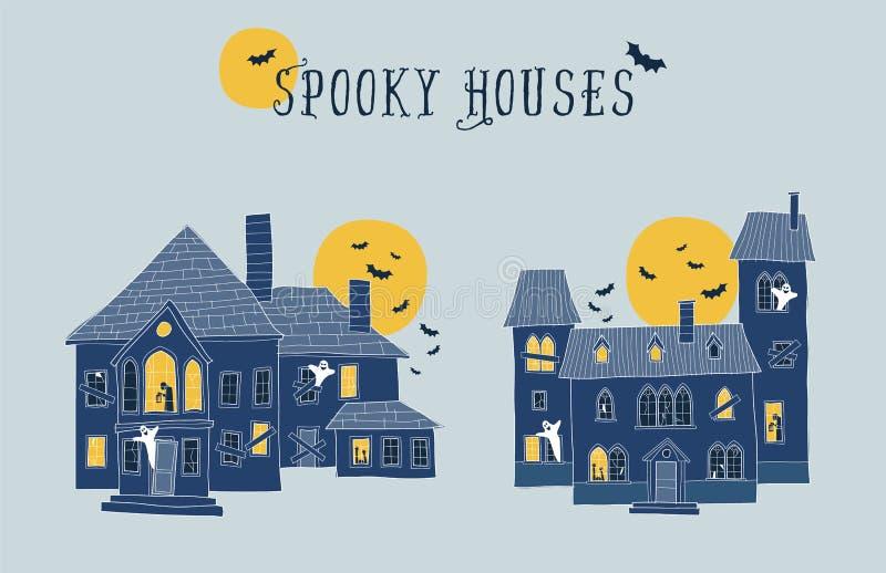 Grupo de duas ilustrações assustadores das casas do Dia das Bruxas Cada EL ilustração royalty free