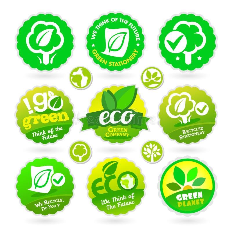 Grupo de Eco - recicl - ícones verdes ilustração royalty free
