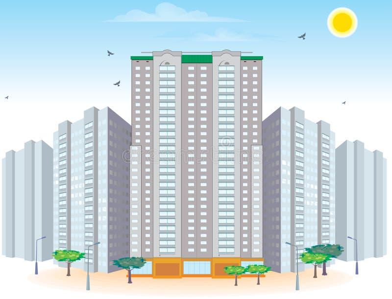 Grupo de edifícios multi-storied ilustração do vetor