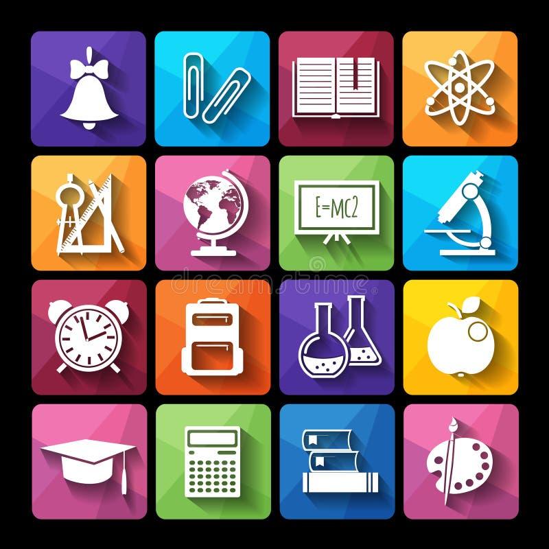 Grupo de educação dos ícones Estilo liso ilustração royalty free