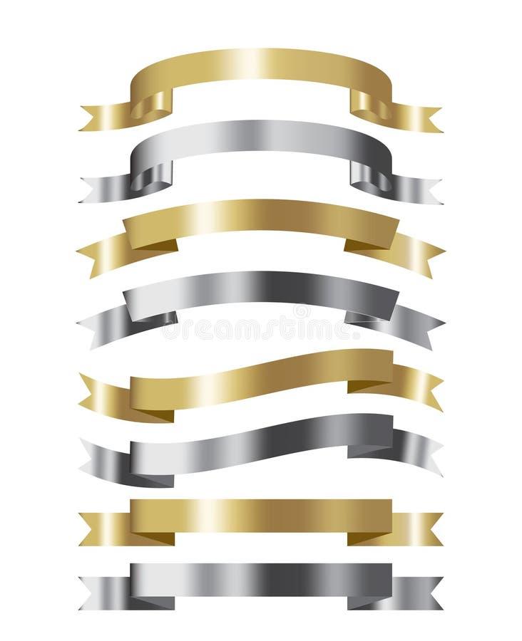 Grupo de efeito dourado e de prata da coleção 3d da fita com lugar ilustração stock