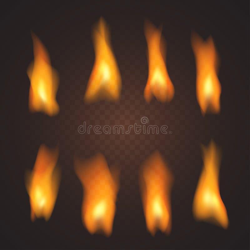 Grupo de efeitos de fogo transparentes realísticos, no vetor ilustração do vetor