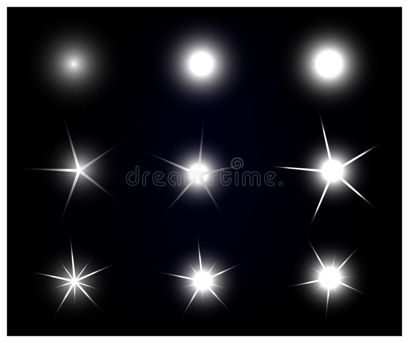 Grupo de efervescência do vetor e de estrelas de incandescência do efeito da luz ilustração stock