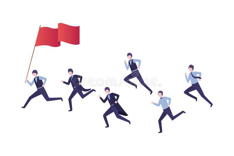 Grupo de ejecutivos que corren con la bandera libre illustration