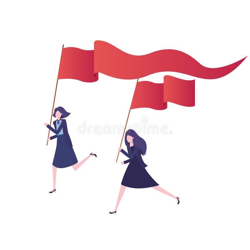 Grupo de ejecutivos que corren con la bandera ilustración del vector