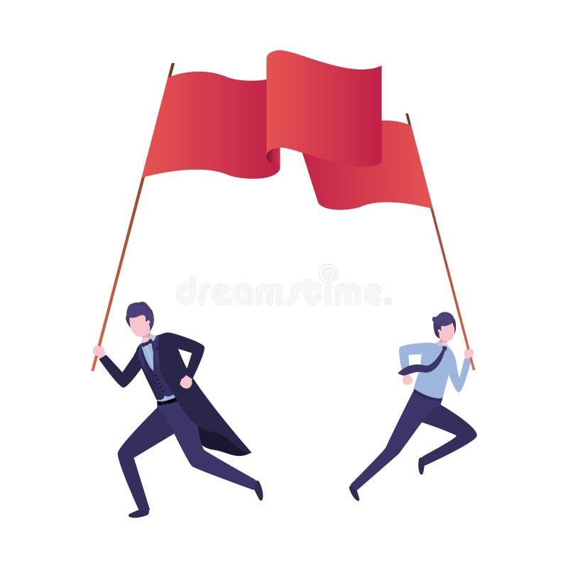 Grupo de ejecutivos que corren con la bandera stock de ilustración
