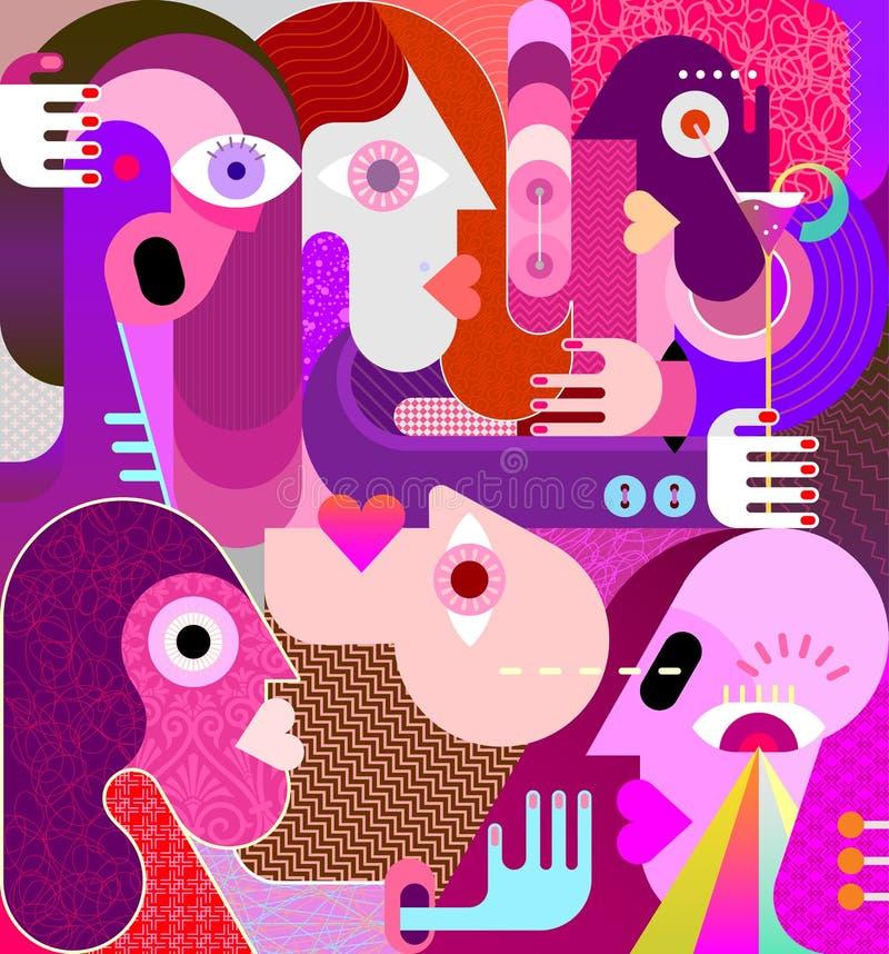 Grupo de ejemplo extraño del vector de la gente ilustración del vector