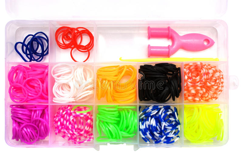 Grupo de elásticos para tecer braceletes fotografia de stock