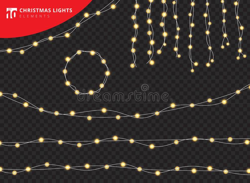 Grupo de ele realístico de incandescência do projeto das luzes das decorações do Natal ilustração stock