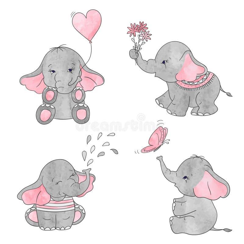 Grupo de elefantes bonitos do bebê dos desenhos animados ilustração stock