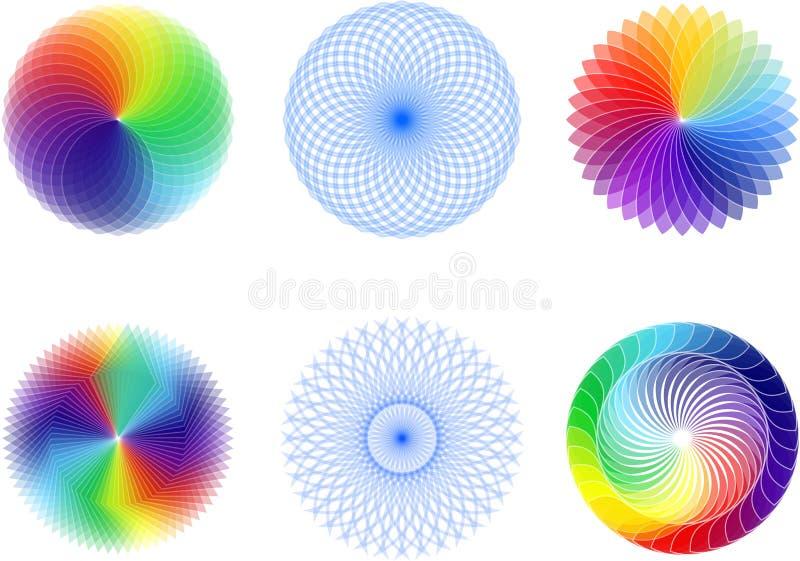 Grupo de elemento abstrato do spirograph ilustração royalty free