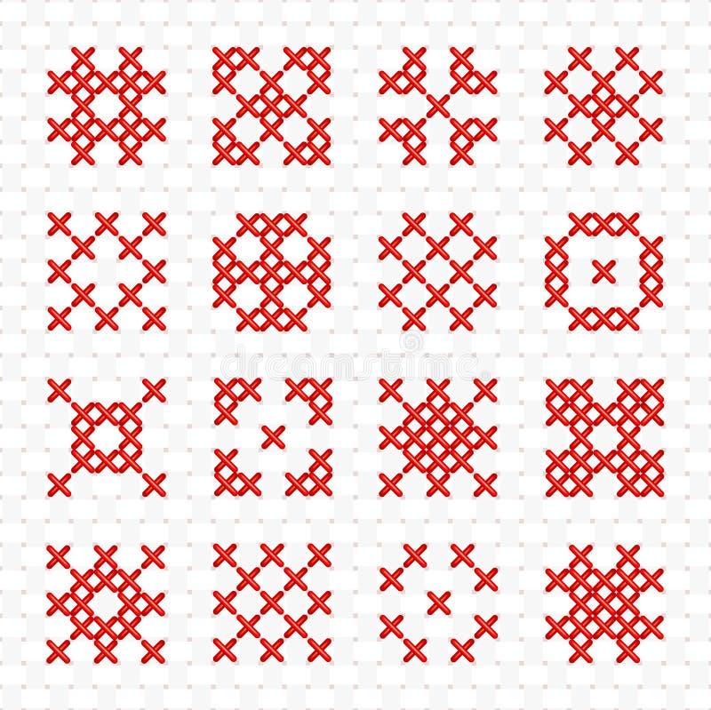 Grupo de elemento de costura transversal geométrico ilustração do vetor