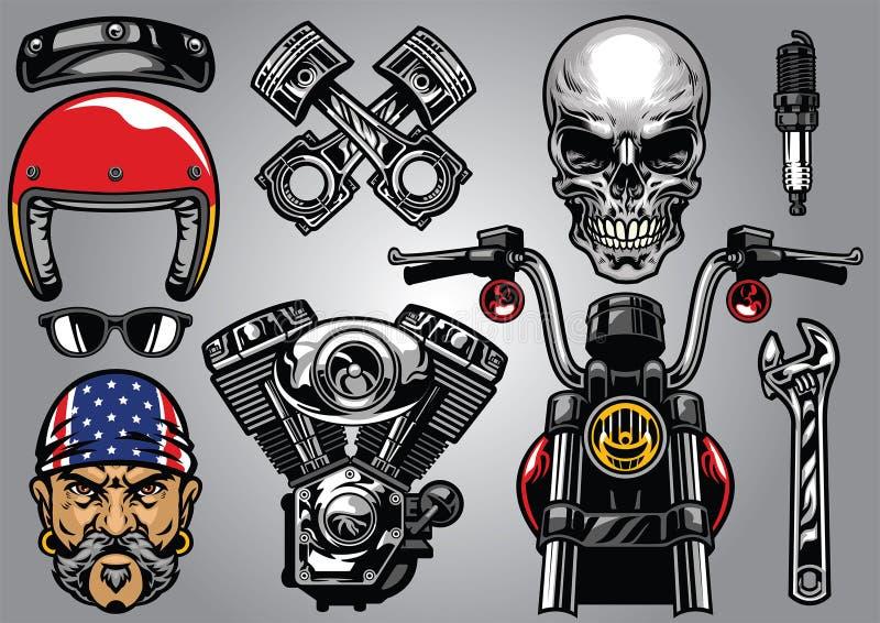 Grupo de elemento detalhado alto da motocicleta ilustração royalty free