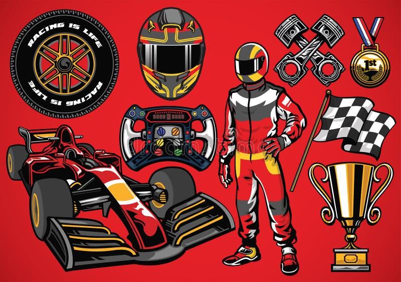 Grupo de elemento detalhado alto do carro de competência da fórmula ilustração stock