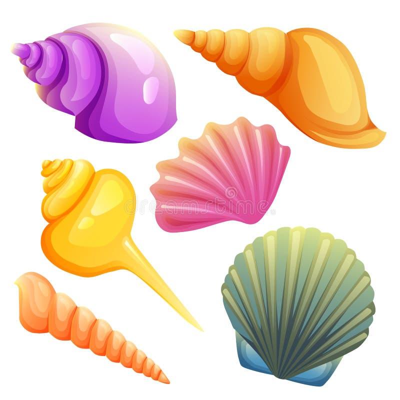 Grupo de elemento do shell do mar ilustração royalty free
