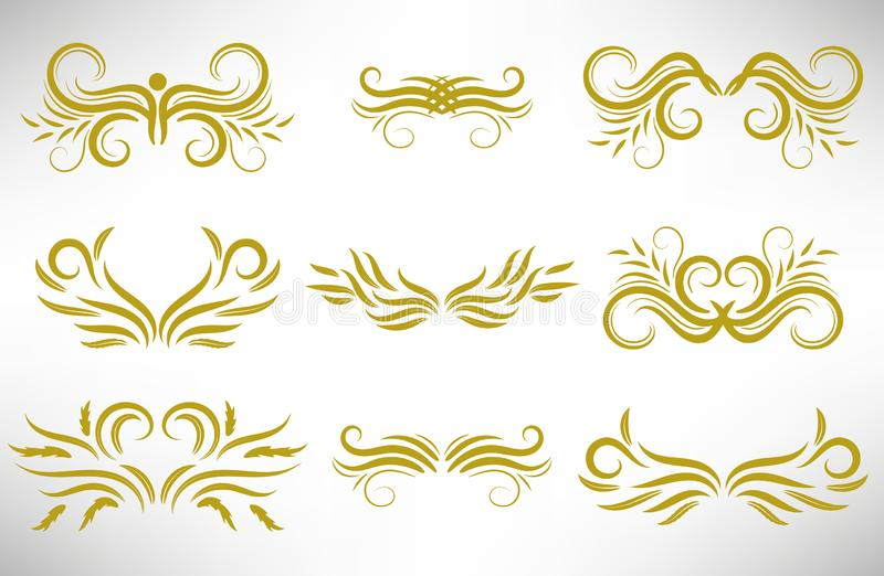 Grupo de elemento encaracolado do projeto do ouro do sumário isolado ilustração do vetor