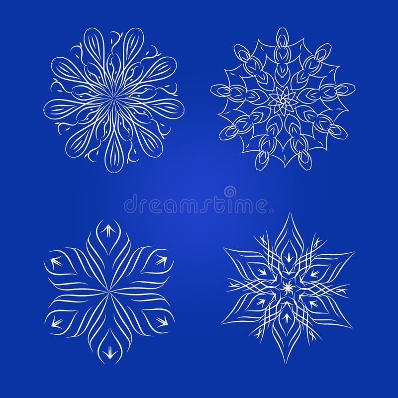 Grupo de elemento floral decorativo, flocos de neve ilustração royalty free