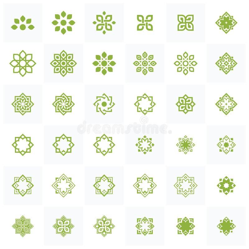 Grupo de elemento de Lotus Wellness Logo Design Template ilustração stock