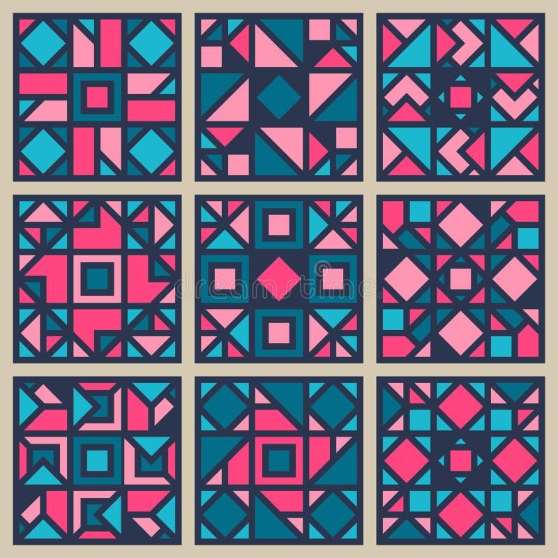 Grupo de elemento quadrado geométrico do projeto do teste padrão do vetor no rosa e no azul ilustração royalty free