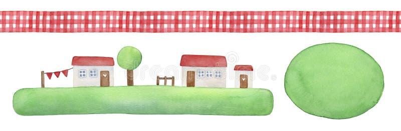 Grupo de elemento rústico com a fita sem emenda decorativa do guingão, casas pequenas bonitos na grama verde e forma redonda da a ilustração do vetor