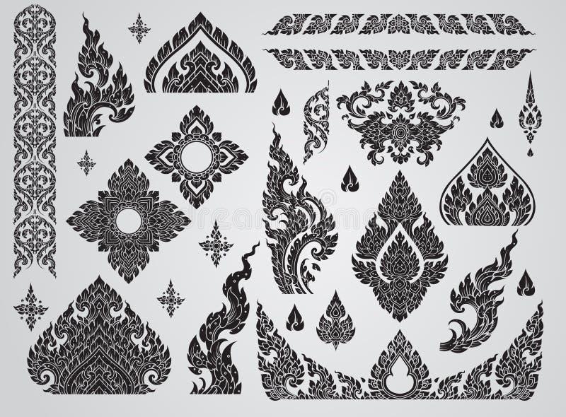 Grupo de elemento tailandês da arte, motivos decorativos Arte étnica, ícone ilustração royalty free