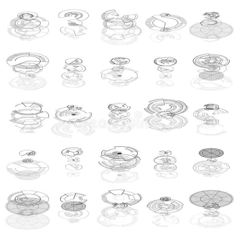 Grupo de elementos abstratos do hud isolados no fundo branco Alta tecnologia, elemento gráfico virtual do toque Web infographic d ilustração royalty free