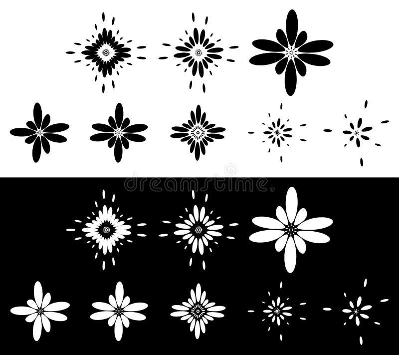 Grupo de 8 elementos abstratos, motivos - circulares, arredondou o elemento s ilustração do vetor