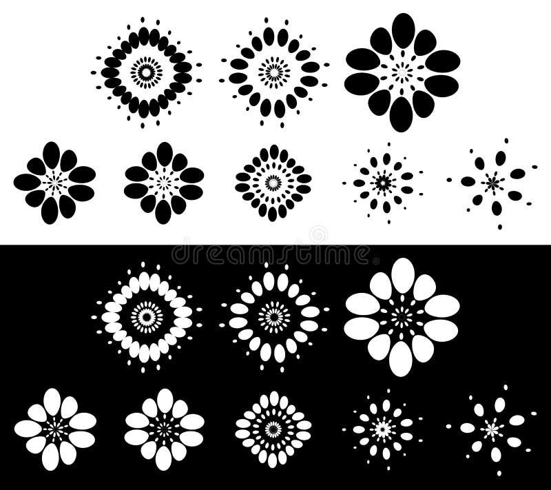 Grupo de 8 elementos abstratos, motivos - circulares, arredondou o elemento s ilustração stock
