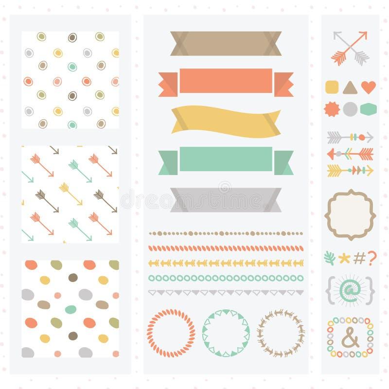 Grupo de elementos bonito do projeto da cor clara ilustração royalty free