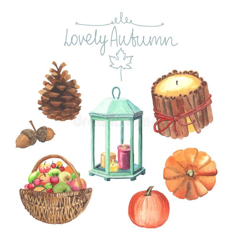 Grupo de elementos bonitos do outono da aquarela ilustração do vetor