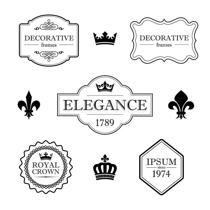 Grupo de elementos caligráficos do projeto do flourish - flor de lis, coroas, quadros e beiras - estilo decorativo do vintage ilustração do vetor