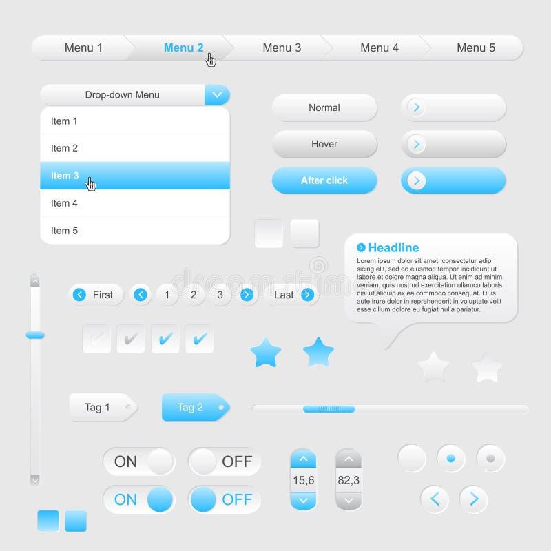 Grupo de elementos cinzento-azuis da Web ilustração royalty free